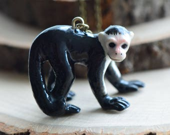 Hand Painted Porcelain Capuchin Monkey Necklace, Antique Bronze Chain, Vintage Style, Ceramic Animal Pendant & Chain (CA071)