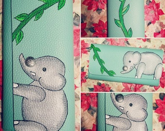 Custom Painted Wallet - Elephant and Vines