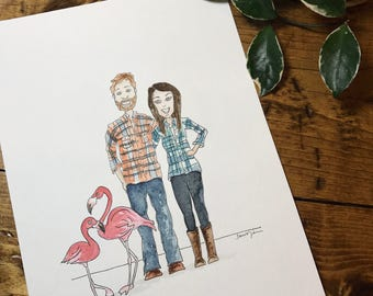 Custom Illustration (made to order) with ink + watercolor. [GROUP OF 4]