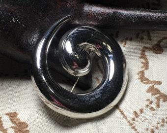 Vintage Monet Graduated Swirl Silver Tone Brooch