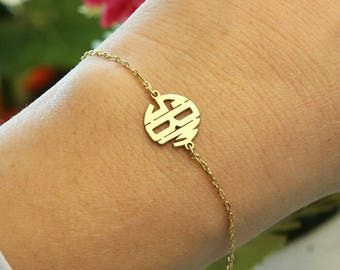 Monogram Bracelet-Dainty Bracelet-Custom Jewelry-Rose Gold Monogram Jewelry-Bridesmaid Gift-Personalized Gift-Personalized Jewelry