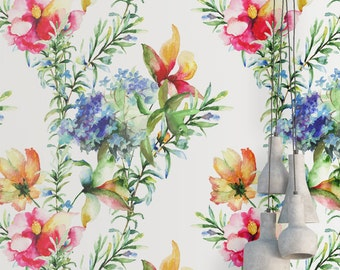 Watercolor Flowers Wallpaper - Removable Wallpaper - Tropical Plants Wallpaper - Floral Print - Tropical Peel and Stick Wallpaper