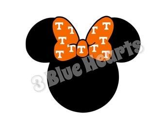 Tennessee Minnie Head, Minnie Head SVG dxf pdf Studio, Disney SVG dxf pdf Studio, Baseball, Football
