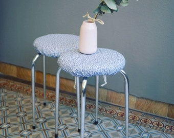 Small blue flowers (2 available) Liberty stools retro vintage spring