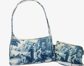 Vintage Toile Purse Handbag, Top Handle Bag, Shoulder Bag, Tote, Pocketbook
