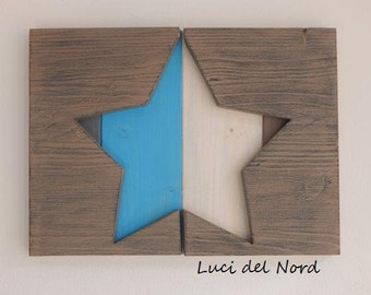 Coloured star on wooden pallets