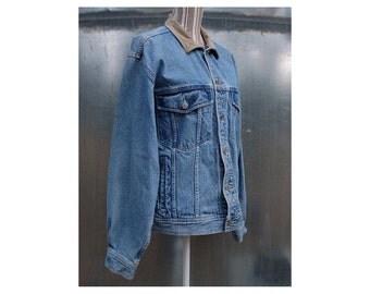 Vintage Denim Trucker Jacket w/ Leather Collar - Banana Republic Jean Jacket - Size Large