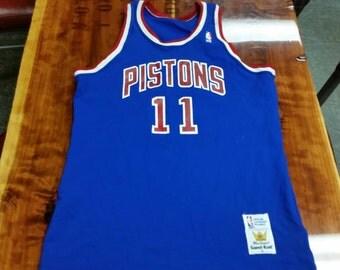 Detroit Pistons jersey, large sand knit jersey, 80s, nba jersey, vintage jersey