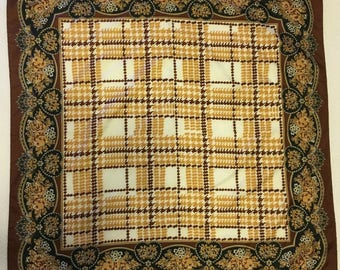 Vintage La Dear Brown and Gold Hearts, Flowers and Houndstooth Scarf