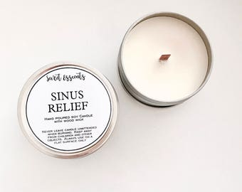 Sinus Natural Soy Wax Tin Candle with Wooden Wick