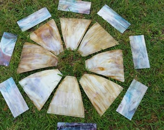 FREE SHIPPING Antique Vintage Marbled Glass Panels for Hanging Lamp
