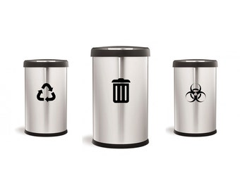 Recycling, Trash & Biohazard Decal Set - Home Decor, Vinyl Decals, Medical, Office