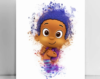 Goby, Bubble guppies nursery wall art, Bubble guppies watercolor, Bubble Guppies baby's room decor, Kids wall decor, Goby watercolor