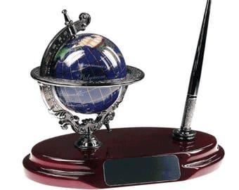 Executive Business Gift Gemstone Globe Desktop Pen Stand  FREE SHIPPING