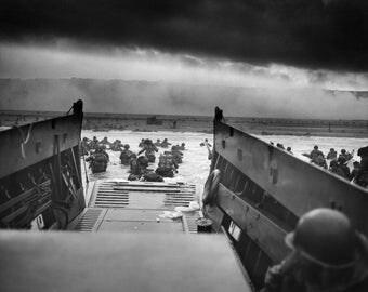Print, D Day, Normandy Beach, WWII, U.S. Army, World War II, Europe