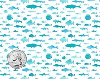 Teal Fish Print Craft Vinyl. UV Laminated. Various Sizes Available.
