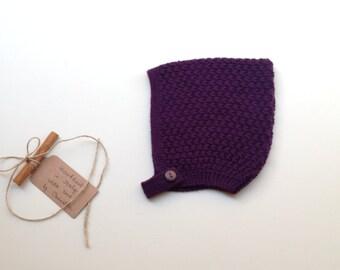 READY TO SHIP - Baby Pixie Bonnet hat 100% cashmere color plum,  hand knit , size 12-24 months