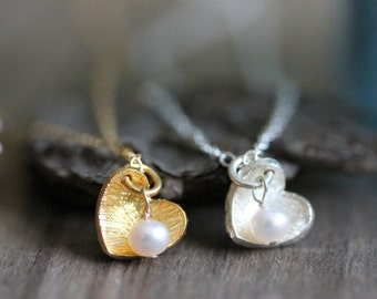 Delicate Heart Necklace, Freshwater Pearl, Sterling Silver, Gold Filled Chain, Love Necklace, Tiny Charm