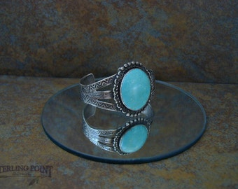 Fred Harvey Era Vintage Sterling Silver Hand Stamped Turquoise Cuff Bracelet. , Lovely, Raw, Earthy, Southwestern, Gift for Him or Her