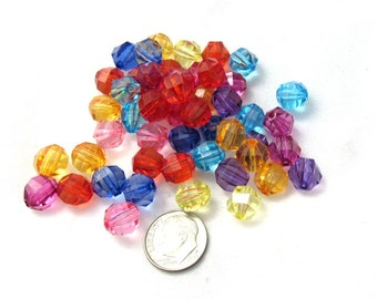 50 Asst. Faceted Round Acrylic Beads 10mm (s1o)
