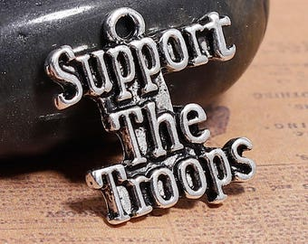 10 Antique Silver Support The Troops Charms 21 x 20mm (B203e)