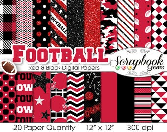 "Football Digital Papers Red & Black, 20 Pieces, 12"" x 12"", High Quality JPEG files, Instant Download Commercial Use Sports Glitter"