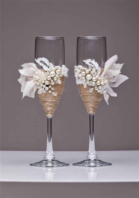 Rustic wedding glasses flutes