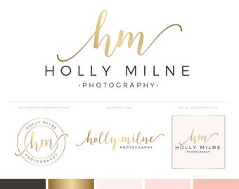Photography Logo Design Branding Kit with Gold Logo and Logo Watermark - Gold Premade Logo Design Branding Package Blog Header