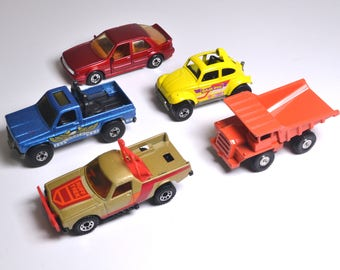 Toy Car Lot From The 1980's, Collectible Toy Cars And Trucks, MatchBox Cars, Hot Wheels, Vintage Toys, Metal Toy Cars
