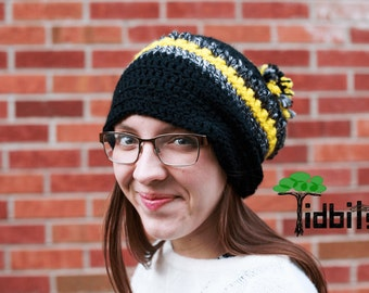 Leslie Slouchy Hat-Crochet Hat-Yellow and Black Beanie