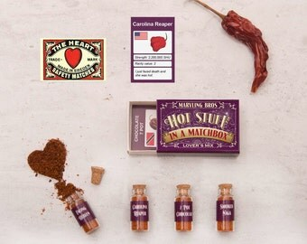 Lover's Mix Hottest Chilli Powders In A Matchbox - Gift For Boyfriend - Gift For Husband - Valentines Gift - Chili Gift - Matchbox - Reaper