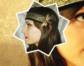 Spiral Dragonfly gold headband