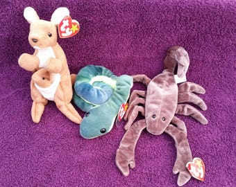 SALE 3 Great Beanie Babies - Pouch Kangaroo, Stinger Scorpion, Hissy Snake