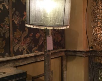 Wooden table lamp with vintage silk shade