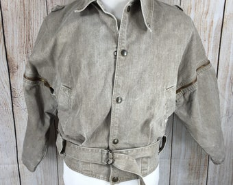 Guess by Georges Marciano Tan Denim Jacket with Zip-Off Sleeves Asymmetrical Collar 80s 90s - Men's Small - Bin 26 Dual