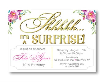 SURPRISE PARTY invitations for Women 25th Birthday Party