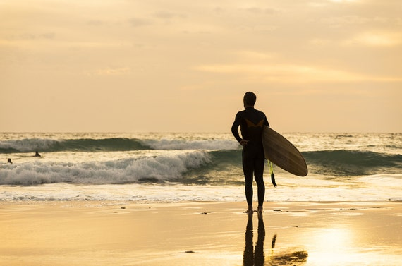 CONTEMPLATING. Surf print, Andalucia Picture, Surfing Art, Photographic Print, Golden Light