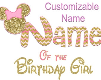 Choose a Name Minnie Mickey Mouse Mom Birthday Girl Shirt DIY Iron On Digital Art Little Sister Matching Pink Gold Pregnancy Announcement