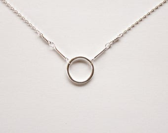 Circle Necklace - 925 Sterling Silver - Circular Necklace - Gift for Her - Wedding - Simple - Round Necklace - Eternity Necklace -  Silver.