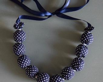 Handmade Fabric Bead necklace - Navy blue/ white polka dots - jewellery
