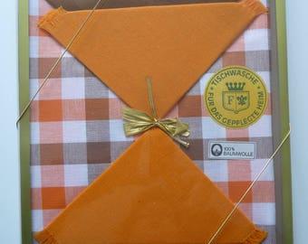 Original Tablecloth 70s in orange, brown and white