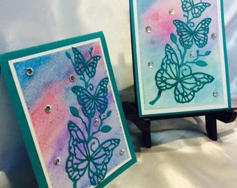 Handmade Card, Hand Stamped Card, Stamped Note Card, Watercolor Note Card, Stamped Butterfly Card,  Handmade Butterfly Card