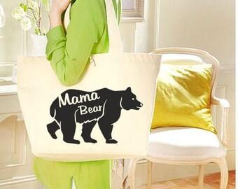 Cotton bag BIO Mama Bear - large sling bag - cotton canvas BIO - mother gift - gift MOM - woman bag