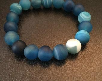 Blue Frosted Agate Bracelet
