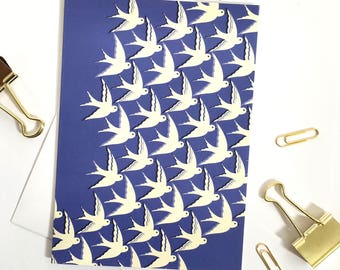 Bird's in flight illustration on royal blue greetings card  / Blank inside with envelope / Moving home card / Printed in the UK.