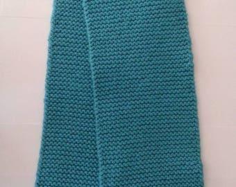 Aqua Blue Hand-knit Scarf