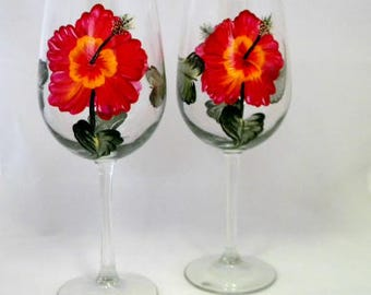 Wine Glasses, Set Of Two, Red Hibiscus Flowers, Hand Painted, Spring, Summer, Wedding, Anniversary, House Warming