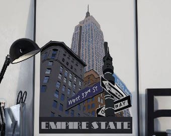 Empire State Building art, New York city art print, Empire State building print, New York wall art, NYC poster, instant download art