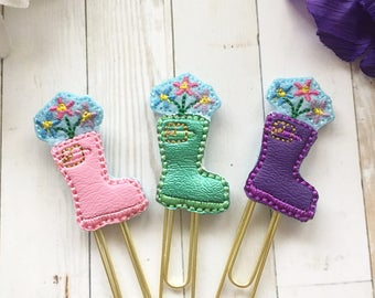 Rainboot and Flowers Planner Clip - Pink, Purple, Green - Spring Planner Clip - Floral Planner - Planner Accessories - April Showers