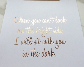 rose gold foil print, friendship, love quote